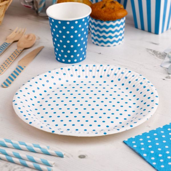 Carnival Blue Paper Plates - Dots (8)